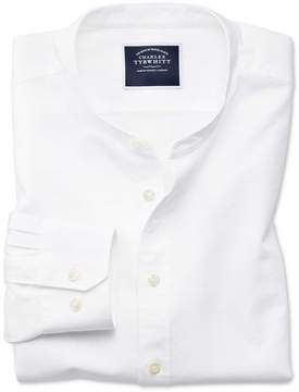 Charles Tyrwhitt Slim Fit Collarless White Cotton Casual Shirt Single Cuff Size Medium