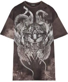 Balmain Distressed Printed Cotton-jersey T-shirt - Gray