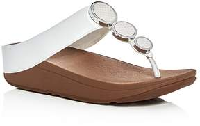 FitFlop Women's Halo Embellished Leather Platform Thong Sandals