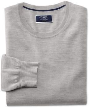 Charles Tyrwhitt Silver Merino Wool Crew Neck Sweater Size Large