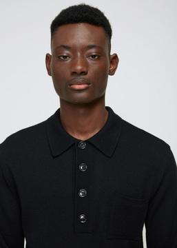 Cmmn Swdn Black Curtis Knit Polo
