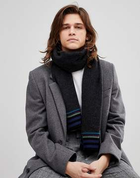 Paul Smith Wool Stripe End Scarf In Black