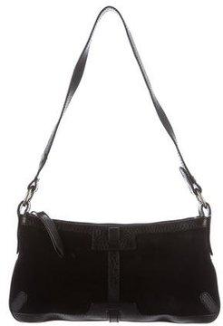 Burberry Leather Trimmed Shoulder Bag - BLACK - STYLE