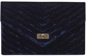 Navy Quilt Twist Lock Clutch Bag