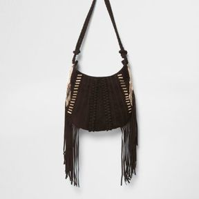 River Island Womens Dark brown suede fringed cross body bag