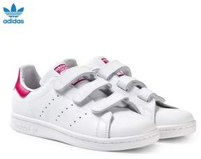 adidas White and Pink Junior Stan Smith Trainers