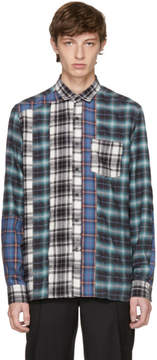 Lanvin Blue and Black Flannel Multi Check Shirt