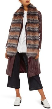 Topshop Women's Tonal Stripe Faux Fur Scarf