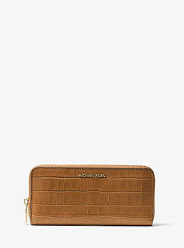 Michael Kors Mercer Embossed-Leather Continental Wallet - BROWN - STYLE