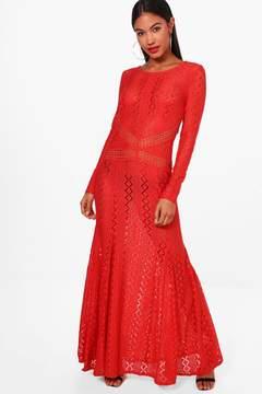 boohoo Boutique Lace Open Back Maxi Dress