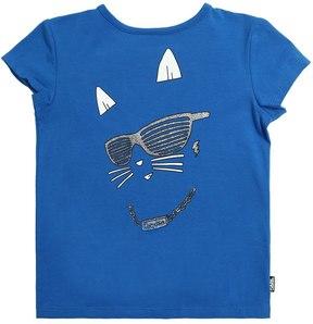 Karl Lagerfeld Glitter Print Cotton Jersey T-Shirt
