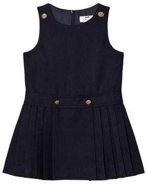 Cyrillus Navy Pleated Skirt Sleeveless Dress