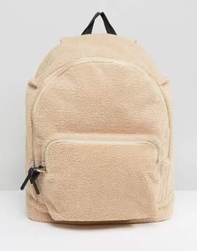 Asos Backpack In Cream Borg