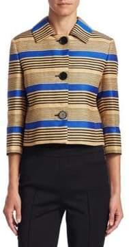 Akris Punto Striped Quarter-Sleeve Jacket