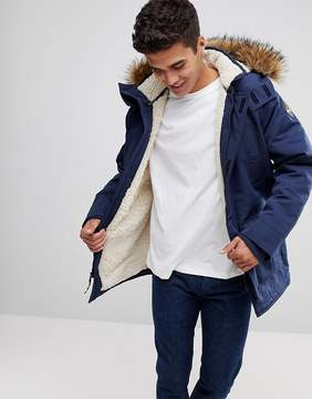 Hollister All Weather Parka Jacket Faux Fur Hood in Navy
