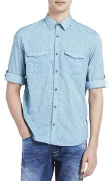 Calvin Klein Jeans Mens Printed Dual Pocket Button-Down Shirt