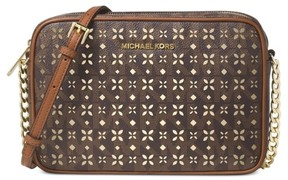 MICHAEL Michael Kors Jet Set Perforated Large Crossbody - BROWN - STYLE