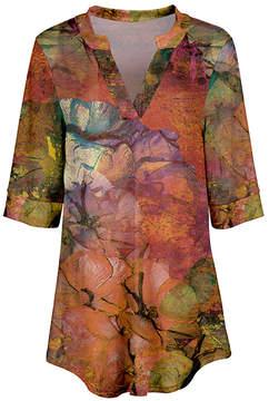 Azalea Orange & Green Abstract V-Neck Tunic - Women & Plus