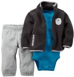 Carter's Baby Clothing Outfit Boys 3-Piece Sherpa Cardigan Set Grey