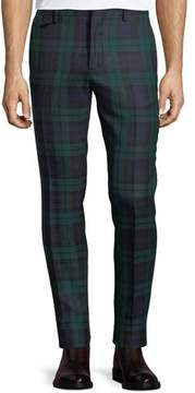 Burberry Check Straight-Leg Wool Pants
