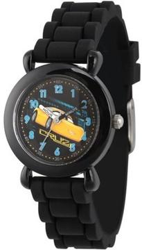 Disney 3 Cruz Ramirez Boys' Black Plastic Time Teacher Watch, Black Silicone Strap