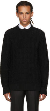 Brioni Black Cable Knit Crewneck Sweater