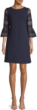 Donna Ricco Women's Scuba Lace Flute Sleeve Dress