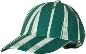 Mini Rodini Green and White Odd Stripe Cap