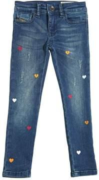 Diesel Heart Printed Ultra Stretch Denim Jeans