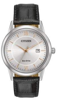Citizen Men s Eco-Drive Stainless Steel and Leather Watch