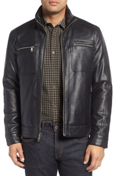 Cole Haan Men's Faux Leather Zip Jacket