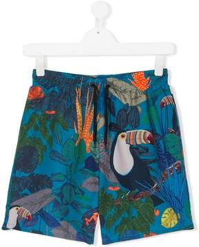 Paul Smith TEEN tropical-print swim shorts
