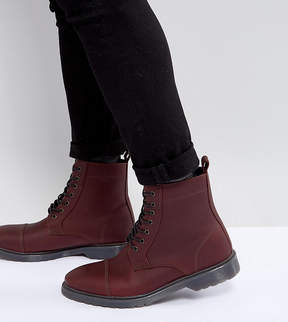 Asos Wide Fit Lace Up Boots In Burgundy Leather With Ribbed Sole