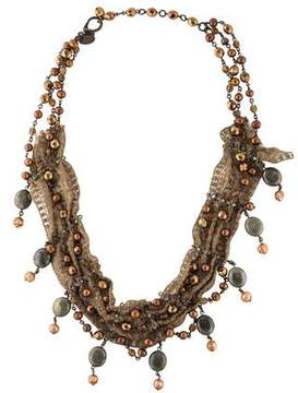 Erickson Beamon Pearl & Pyrite Lace Collar Necklace