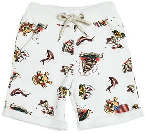 Fred Mello Tattoo Printed Cotton Shorts