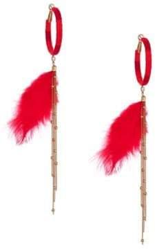 Ettika Feather Drop Hoop Earrings