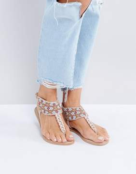 Pieces Beaded Nude Leather Sandals
