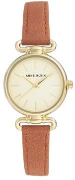 Anne Klein Goldtone Champagne Dial Light Brown Faux Leather Strap Watch