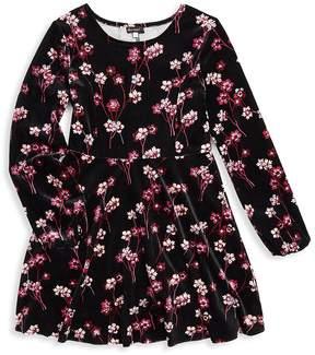 Ella Moss Girl's Floral Velour A-Line Dress