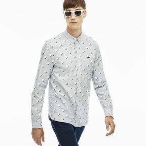 Lacoste Men's L!ve Slim Fit Stripes And Polka Dots Shirt
