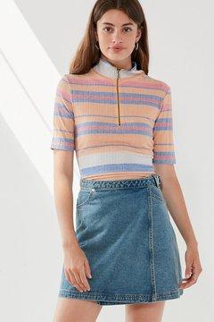 BDG Denim Wrap Belted Mini Skirt