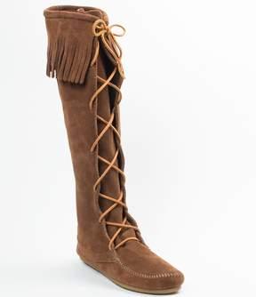 Minnetonka Womens Hardsole Suede Fringe Lace Up Boots