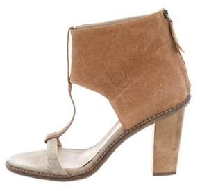 Brunello Cucinelli Leather T-Strap Sandals
