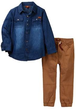 7 For All Mankind Denim Shirt & Joggers (Toddler Boys)