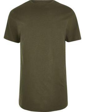 River Island Mens Dark green curved hem longline T-shirt