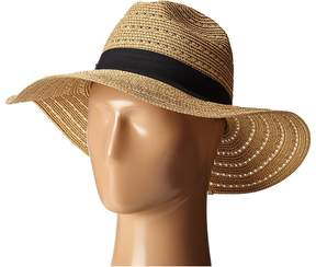 San Diego Hat Company UBM4454 4 Inch Brim Panama Fedora Hat with Gold Lurex Specs Caps