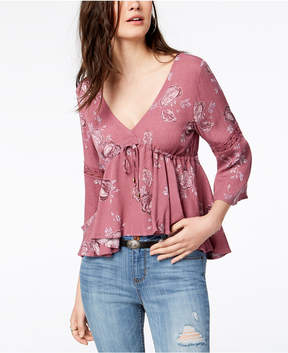 American Rag Juniors' Printed Lace-Up Top, Created for Macy's