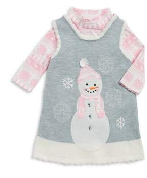 Iris & Ivy Baby Girl's Two-Piece Snowman Dress and Winter Bodysuit Set