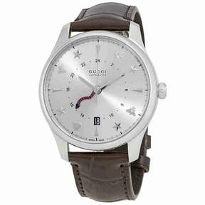 Gucci G-Timeless Silver Dial Automatic GMT Men's Leather Watch YA126332