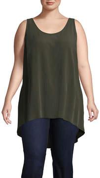 Boutique + + Sleeveless Woven Tank Top - Plus